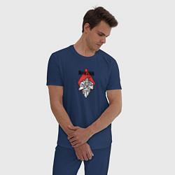 Пижама хлопковая мужская Стальной Алхимик цвета тёмно-синий — фото 2