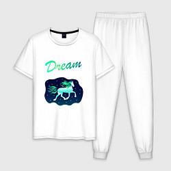 Пижама хлопковая мужская Dream цвета белый — фото 1