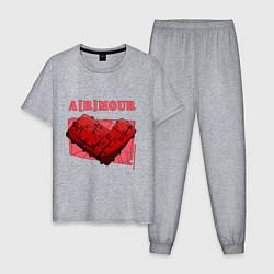 Пижама хлопковая мужская A r mour цвета меланж — фото 1