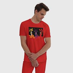 Пижама хлопковая мужская Evangelion цвета красный — фото 2