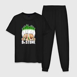 Пижама хлопковая мужская Доктор Стоун цвета черный — фото 1