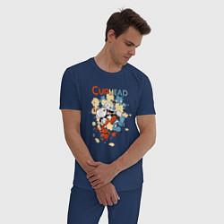 Пижама хлопковая мужская Друзья caphead цвета тёмно-синий — фото 2