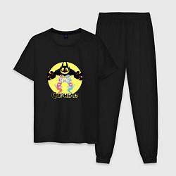 Пижама хлопковая мужская Дьявол caphead цвета черный — фото 1