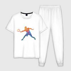 Пижама хлопковая мужская Tennis player - man цвета белый — фото 1