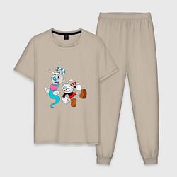 Пижама хлопковая мужская CUP HEAD цвета миндальный — фото 1