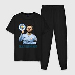 Пижама хлопковая мужская Silva Bernardo Манчестер Сити цвета черный — фото 1