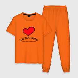 Пижама хлопковая мужская Love your цвета оранжевый — фото 1
