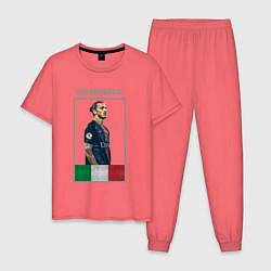 Пижама хлопковая мужская Златан Ибрагимович Милан цвета коралловый — фото 1