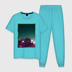 Пижама хлопковая мужская Ночной город цвета бирюзовый — фото 1