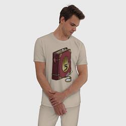 Пижама хлопковая мужская Таинственный дневник цвета миндальный — фото 2