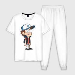 Пижама хлопковая мужская Неугомонный Диппер цвета белый — фото 1
