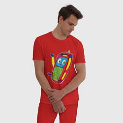 Пижама хлопковая мужская Телефон цвета красный — фото 2