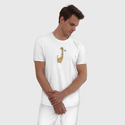 Пижама хлопковая мужская Жирафик с цветком цвета белый — фото 2