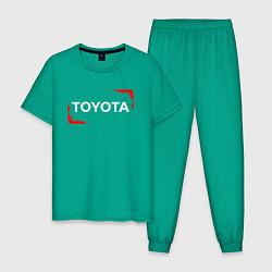 Пижама хлопковая мужская Тойота - Огонь цвета зеленый — фото 1