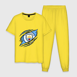 Пижама хлопковая мужская MANCHESTER CITY МАНЧЕСТЕР цвета желтый — фото 1