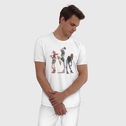 Пижама хлопковая мужская Новые экипировки цвета белый — фото 2