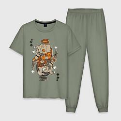 Пижама хлопковая мужская Джокер цвета авокадо — фото 1