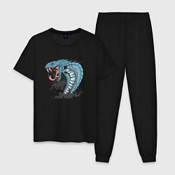 Пижама хлопковая мужская Голова змеи цвета черный — фото 1