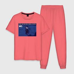 Пижама хлопковая мужская Your crush is comming цвета коралловый — фото 1