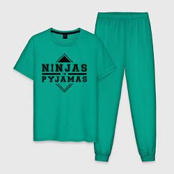 Пижама хлопковая мужская Ninjas In Pyjamas цвета зеленый — фото 1