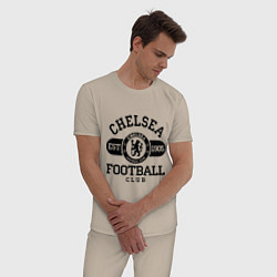 Пижама хлопковая мужская Chelsea Football Club цвета миндальный — фото 2