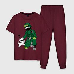 Пижама хлопковая мужская Вежливый солдат цвета меланж-бордовый — фото 1