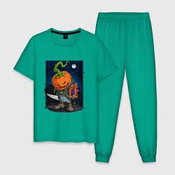 Пижама хлопковая мужская Жуткий подарок цвета зеленый — фото 1