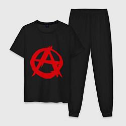 Пижама хлопковая мужская Символ анархии цвета черный — фото 1