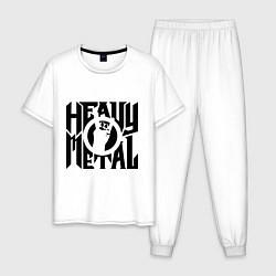 Пижама хлопковая мужская Heavy metal цвета белый — фото 1