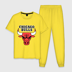 Пижама хлопковая мужская Chicago Bulls цвета желтый — фото 1