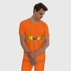 Пижама хлопковая мужская BRASIL 2014 цвета оранжевый — фото 2