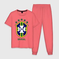 Пижама хлопковая мужская Brasil CBF цвета коралловый — фото 1