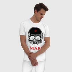 Пижама хлопковая мужская 30 STM: Skull цвета белый — фото 2