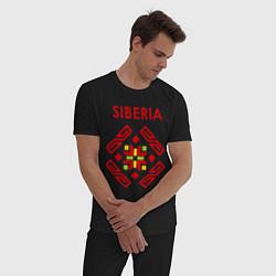 Пижама хлопковая мужская Русский орнамент цвета черный — фото 2