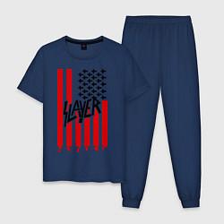 Пижама хлопковая мужская Slayer Flag цвета тёмно-синий — фото 1