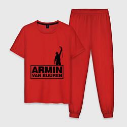 Пижама хлопковая мужская Armin van buuren цвета красный — фото 1