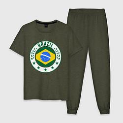 Пижама хлопковая мужская Brazil 2014 цвета меланж-хаки — фото 1