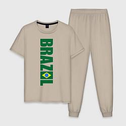 Пижама хлопковая мужская Brazil Football цвета миндальный — фото 1
