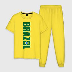 Пижама хлопковая мужская Brazil Football цвета желтый — фото 1