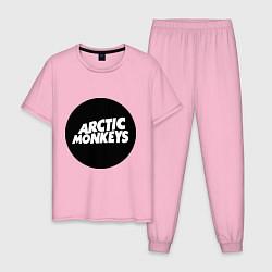 Пижама хлопковая мужская Arctic Monkeys Round цвета светло-розовый — фото 1