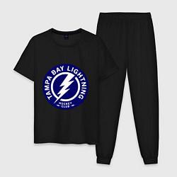 Пижама хлопковая мужская HC Tampa Bay Lightning цвета черный — фото 1