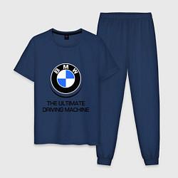Пижама хлопковая мужская BMW Driving Machine цвета тёмно-синий — фото 1