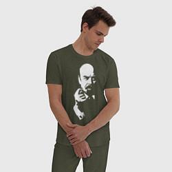 Пижама хлопковая мужская Ленин: фигу вам цвета меланж-хаки — фото 2