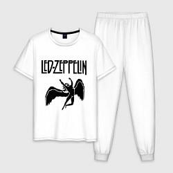Пижама хлопковая мужская Led Zeppelin цвета белый — фото 1
