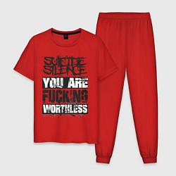 Пижама хлопковая мужская Suicide Silence: You are Fucking цвета красный — фото 1
