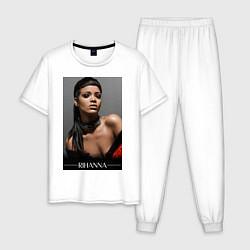 Пижама хлопковая мужская Rihanna: portrait цвета белый — фото 1