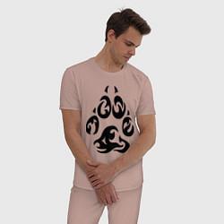Пижама хлопковая мужская Волчий след цвета пыльно-розовый — фото 2