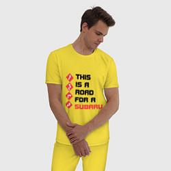Пижама хлопковая мужская Дорога для subaru цвета желтый — фото 2