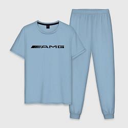 Пижама хлопковая мужская AMG цвета мягкое небо — фото 1