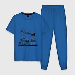 Пижама хлопковая мужская Санта над городом цвета синий — фото 1